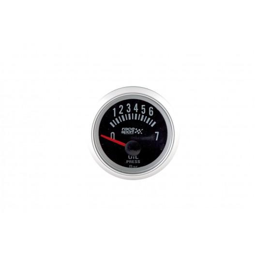 """Manómetro Negro Presión Aceite """"Race Sport""""Di.52Mm.12V."""