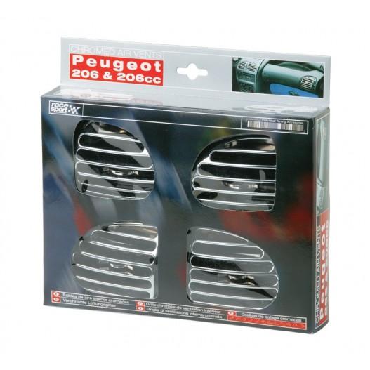 Salidas De Aire Interior Peugeot 206.Cromadas