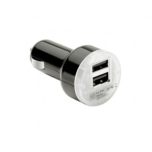 "Cargador doble USB de 2.1mA ""PULSE MOBILE PRO"" de color negro. Carga superrápida tablets y Smartphones"
