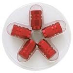 Tapones Válvula Aluminio Hexagonal. Rojo