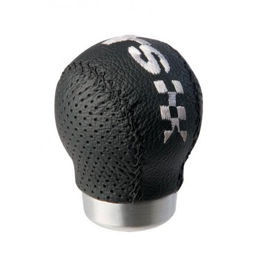 """Pomo Cambio 100% Piel """" Ravenna """" Negro Con Logo RS"""